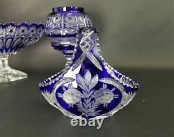 Vintage LAUSITZER GLAS Cobalt Blue Lead Crystal Hand Cut Handled Basket