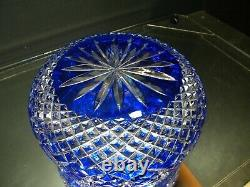 Vintage Large Cobalt Blue Czech Bohemian Lead Crystal Cut to Clear Bowl