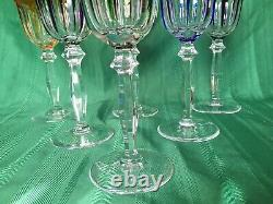 Vintage Multi-Color Bohemian Czech Crystal Cut To Clear Cordial Wine Glasses, 6