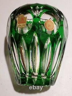 Vintage Nachtmann Germany Bamberg Emerald Green Cut to Clear Crystal Vase