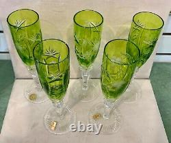 Vintage Nachtmann Traube Cut To Clear Lime Green Crystal Champagne Flutes