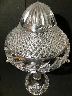 Vintage Nouveau Glass Deep Cut Crystal Table Lamp c/w Mushroom Shade Electric