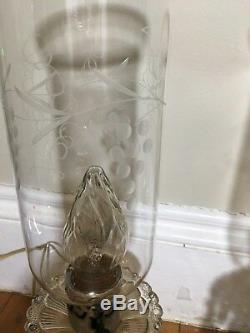 Vintage Pair Stunning Lead Crystal Hand Cut Hurricane Lamps Glass Antique Prism