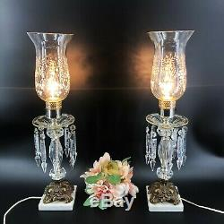 Vintage Pair Table Boudoir Hurricane Lamps Cut Glass Crystal Prism Made in Italy