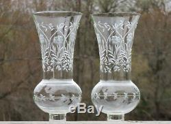 Vintage Pair Table Boudoir Lamp Cut Glass Hurricane Shade Crystal Glass Prism