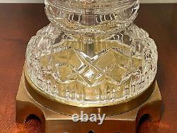 Vintage Pair of PAUL HANSON Mid-Century 31 Tall Cut Crystal & Brass Table Lamps