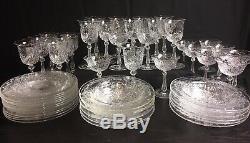 Vintage Seneca Hand Cut Crystal Stemware Bowls & Plates Rare 51 Pc Set MINT