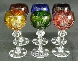 Vintage Set of 6 Colored Czech Wine Glass Goblets Cut to Clear Fan Bohemian MINT