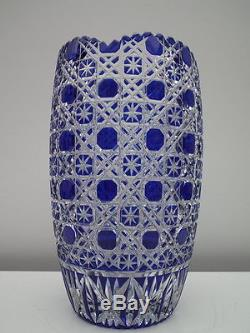 Vintage bohemian cobalt blue cut lead crystal vase bohemia vase crystal vase