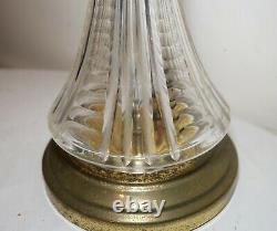 Vintage brass cut clear glass crystal electric table lamp with interior light