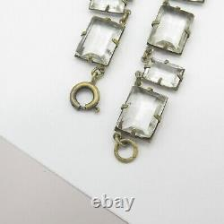 Vtg 1930s Art Deco Signed Czech Emerald Cut Glass Crystal Dangle Necklace