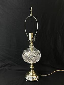 Vtg Antique ABP Cut Crystal Art Deco Boudoir Table Desk Lamp Hollywood Regency