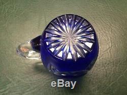 Vtg Crystal Glass Cobalt Blue Cut To Clear Lidded Punch Bowl Egg Nog & 12 Cups
