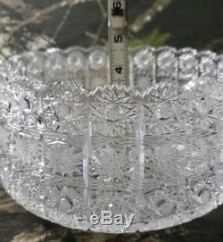 Vtg Czech Bohemia Hand Cut Crystal Bowl Serving Bohemian Queen Lace Beautiful B3