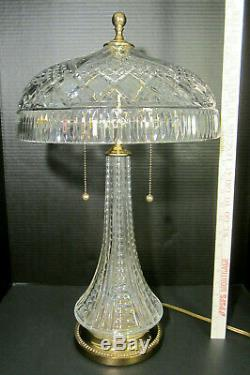 WATERFORD CRYSTAL Cut Glass BIG 24 BEAUMONT Mushroom Shade Electric Table Lamp