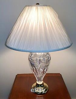 WATERFORD CRYSTAL Large 30 Inch Cut Crystal and Polished Brass Table Lamp NEW