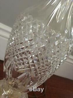 WATERFORD LAMP CUT CRYSTAL TABLE LAMP Brass Base LOVELY! VTG