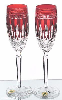 Waterford Clarendon Ruby Red Cut to Clear Crystal Champagne Flutes New w Labels