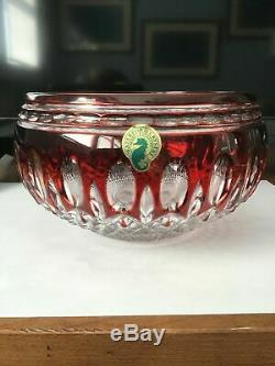 Waterford Clarendon Ruby Red to Clear Cut Crystal Bowl MINT CONDITION