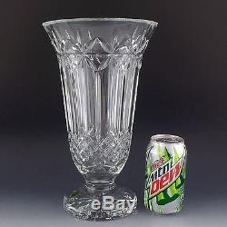 Waterford Crystal 12 Tall BALMORAL Footed Statement VASE Star Cuts Ireland Made
