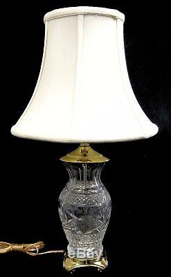 Waterford Crystal 22 Thumbprint Cut Table Lamp withShade Signed Made in Ireland