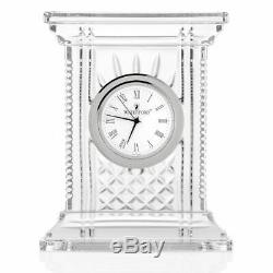 Waterford Crystal Atrium 7 Diamond & Wedge Cut Desk Clock (New Damaged Box)