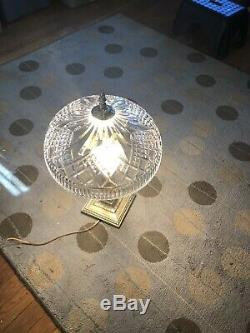 Waterford Crystal Beaumont Verdi Finish Electric Table Lamp 23 Marked Cut Clear