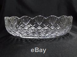 Waterford Crystal Fan & Criss Cross Cuts Oval Bowl, 11 x 7 1/2, As Is