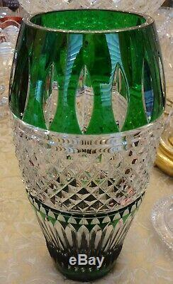 Waterford Crystal Irish Lace 12 Vase Emerald Green Cut To Clear
