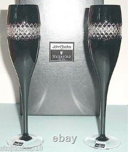 Waterford John Rocha Champagne Flutes SET/2 Black Cut Cased Crystal 135499 New