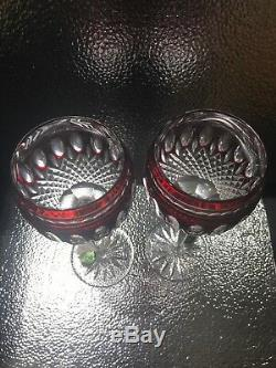 Waterford RUBY RED Crystal Cut to Clear Clarendon Wine Hock Goblets 2 NEW