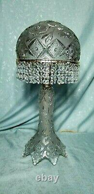 Waterford Vintage Crystal Cut-Glass Mushroom Table Lamp with hanging prisms
