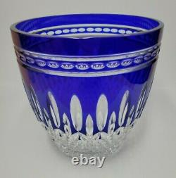 Waterford Vintage Crystal Ice Bucket Cobalt Blue Clarendon Cut To Clear Rare