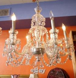 Waterford style Crystal 6 Arm Chandelier cut crystal glass lots of real crystals
