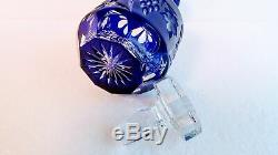 Whiskey Decanter Nachtmann Traube COBALT BLUE CUT TO CLEAR CRYSTAL Germany