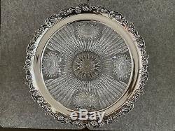 Wilcox Sterling Silver Rim American Brilliant Cut Glass Punch Bowl 12.25 T63