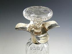 William Comyns Silver Top DECANTER Intaglio cut with Flowers